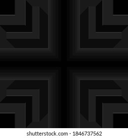Black pipe shape crisscross, 3d right-angled edge, seamless geometric pattern. Templates for background, banner, brochure, book cover, flyer, leaflet, poster, tile, wallpaper. Vector illustration.