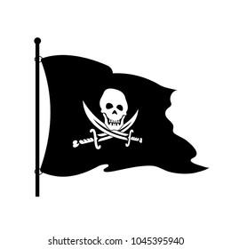 Black piracy flag on a white background.