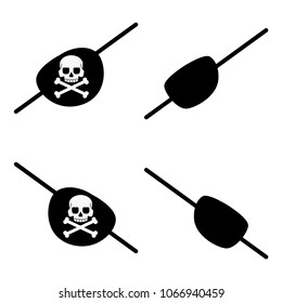 Black pirate eye bandage with a skull and crossbones for the left and right eyes. Vector flat icons of patch isolated on white background.
