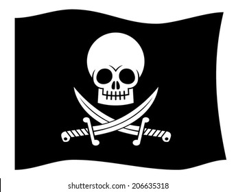 Black pirate flag with Jolly Roger. Skull and crossed daggers.