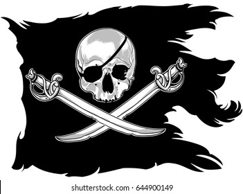 black pirate flag with a skull and sabers