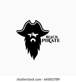 Black pirate logo template design. Vector illustration.