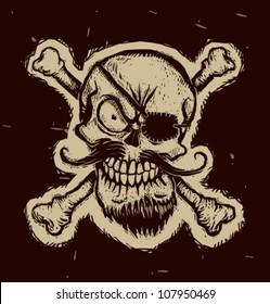 Black pirate skull, vector 01