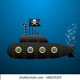 Black pirate submarine under the water . Jolly Roger flag. Cartoon style. Vector Image.