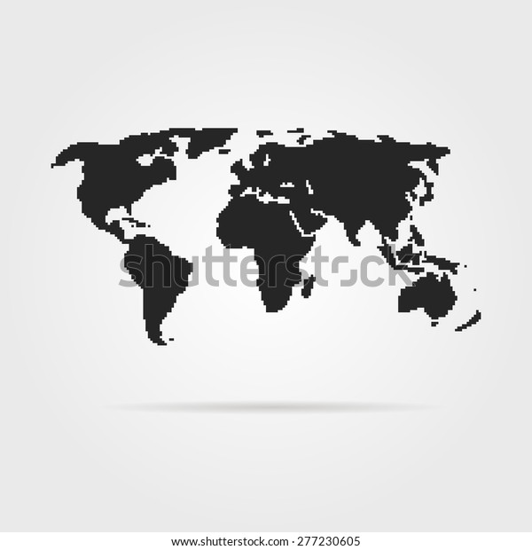 Black Pixel Art World Map Shadow Stock Vector (Royalty Free