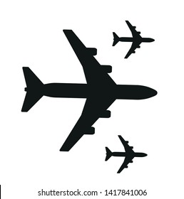 black plane airline symbol vector icon