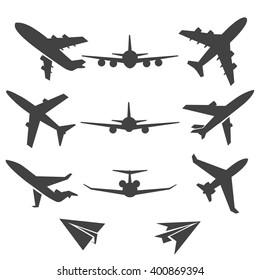 Black plane pictograms on white background. Vector illustration
