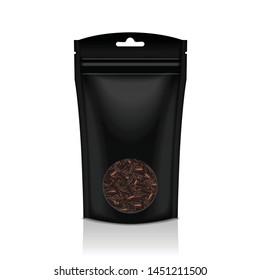 Black Plastic bag with round window. Black tea. Packaging template mockup collection for your design