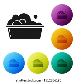 Black Plastic basin with soap suds icon isolated on white background. Bowl with water. Washing clothes, cleaning equipment. Set icons colorful circle buttons. Vector Illustration