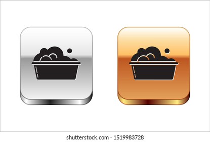 Black Plastic basin with soap suds icon isolated on white background. Bowl with water. Washing clothes, cleaning equipment. Silver-gold square button. Vector Illustration