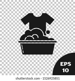Black Plastic basin with soap suds icon isolated on transparent background. Bowl with water. Washing clothes, cleaning equipment.  Vector Illustration