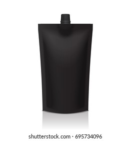 Black plastic doypack stand up pouch with spout. Flexible packaging mock up for food or drink for your design