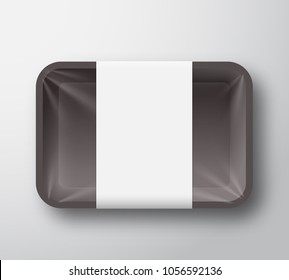 Black Plastic Food Tray Container with Transparent Cellophane Cover and Clear White Label Template. Realistic Packaging Mock Up. Isolated.