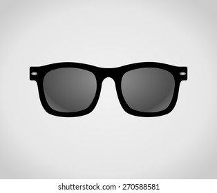 Black plastic hipster sunglasses icon. Classic wayfarer shape sun glasses with black color frame. Personal accessory object concept. vector art image illustration, isolated on white background