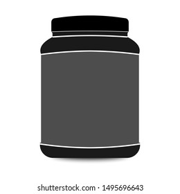 Black Plastic Jar Isolated On White Background. Vector