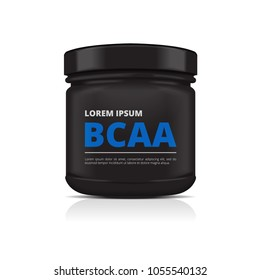 Black Plastic Jar. Sport Nutrition, Whey Protein or Gainer. Pack design template for your design