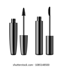 Black plastic opened mascara tube with volume and lengthening boosting effect brush. Realistic vector container of eye cosmetics isolated on white background.