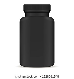 Black  Plastic pill bottle. 3d Vector illustration. Mockup Template of medicine package for pills, capsule, drugs. Sports and health life supplements.