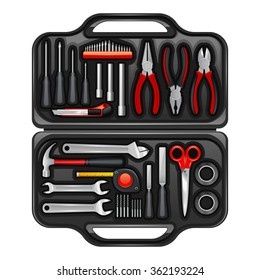 Black plastic toolkit box for keeping storage and carrying instruments and tools for repair service realistic vector illustration