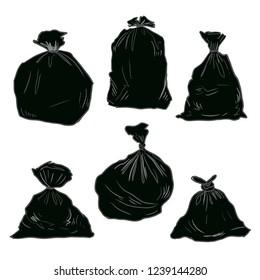 black plastic trash, garbage bag vector drawing illustration