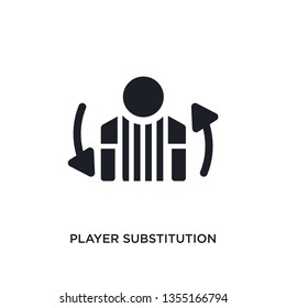 black player substitution isolated vector icon. simple element illustration from football concept vector icons. player substitution editable black logo symbol design on white background. can be use