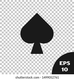 Black Playing card with spades symbol icon isolated on transparent background. Casino gambling.  Vector Illustration