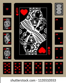 Black playing cards of Hearts suit with white linear drawing. Original design. Vector illustration