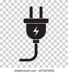 Black plug icon on transparent background. Vector illustration