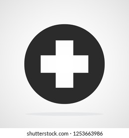 Black plus icon in flat style. Vector illustration. Plus icon isolated