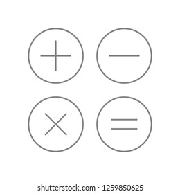 Black plus minus division multiplication +, -, x, = rounded shape black contour thin line icon, simple flat design for app, ui, ux, web, button, interface vector isolated on white background