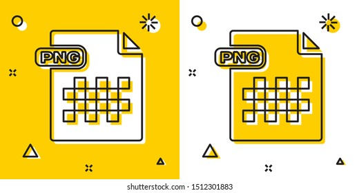 Black PNG file document. Download png button icon isolated on yellow and white background. PNG file symbol. Random dynamic shapes. Vector Illustration