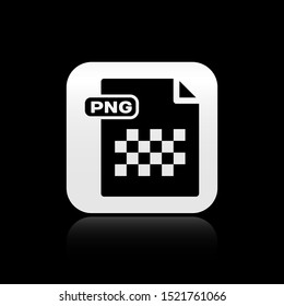 Black PNG file document. Download png button icon isolated on black background. PNG file symbol. Silver square button. Vector Illustration