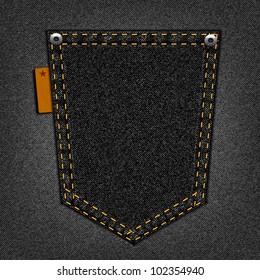 Black pocket on a jeans background
