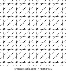 Black point pattern. Vector illustration of ornament from round different sizes. Seamless pattern of several shapes. Example pattern or background for website, visit card and etc.