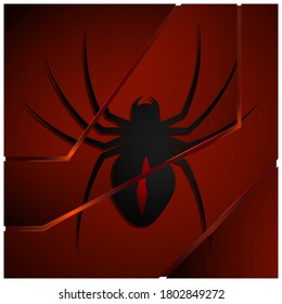 Black poisonous spider on black red polygonal background made of shards. Futuristic illustration, dangerous insects. Vector
