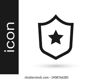 Black Police badge icon isolated on white background. Sheriff badge sign. Shield with star symbol.  Vector