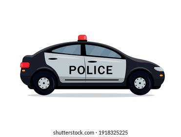 Black Police car side view. Cop, police officer auto, policeman patrol automobile. City transport icon isolated on the white background. Vector illustration.