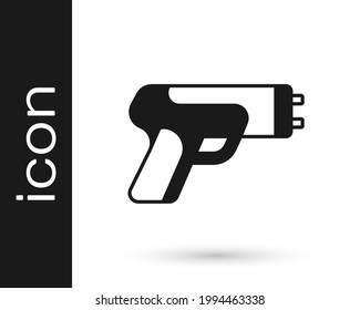 Black Police electric shocker icon isolated on white background. Shocker for protection. Taser is an electric weapon.  Vector