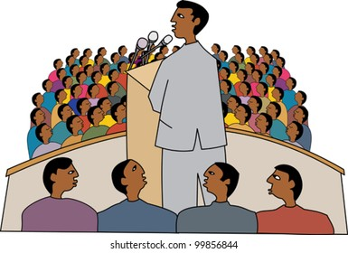 Black politician at a rally giving a speech
