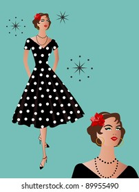 black polka-dot retro dress