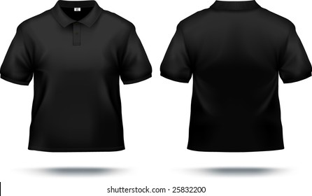 Black polo shirt design template (front & back). Contains gradient mesh elements, lot of details. More clothing designs in my portfolio!