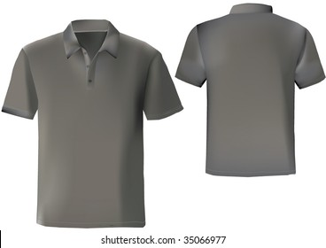 Black polo shirt design template with front and back.