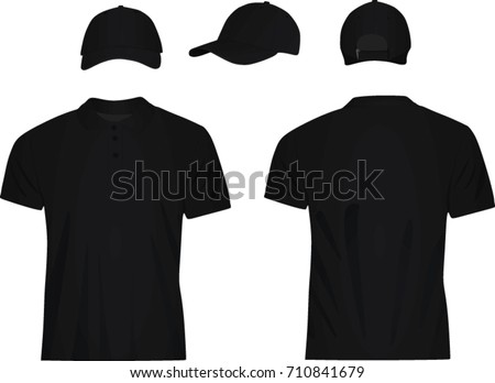 5d2995e7b Black Polo T Shirt Baseball Cap Stock Vector (Royalty Free ...