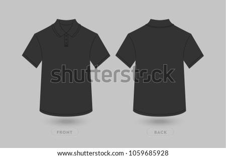 black polo t shirt mockup template stock vector royalty free