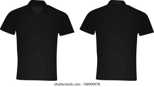 Black polo t shirt. vector illustration