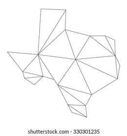 black polygonal outline of Texas vector map