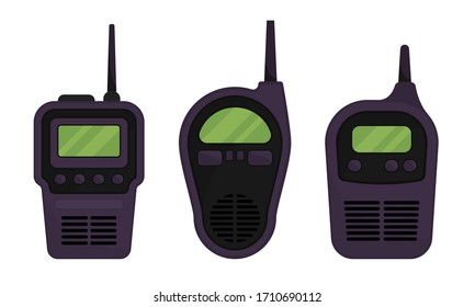 Black Portable Radio Device or Walkie Talkie with Antenna Vector Set