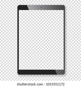 Black portable tablet pad mock up. Realistic vector illustration