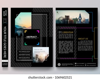 Black portfolio design vector. Minimal brochure report business flyers magazine poster template. Abstract square and line on cover book presentation.