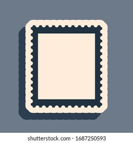 Black Postal stamp icon isolated on grey background. Long shadow style. Vector Illustration